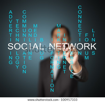 business man writing social network concept by crossword of relate word such as internet, technology, advertising, online, marketing etc.
