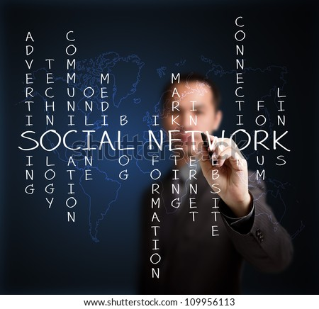business man writing social network concept by crossword of relate word with world map background