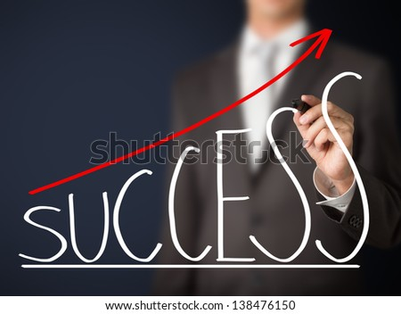 business man writing success graph