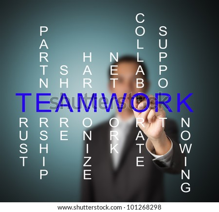 business man writing teamwork concept by crossword of relate word such as trust, partnership, share, collaborate etc.