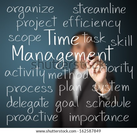 business man writing time management concept