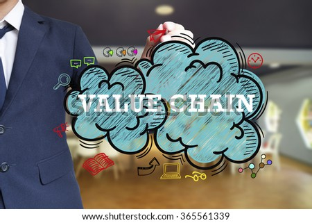 business man writing VALUE CHAIN over the cloud with office background , business concept
