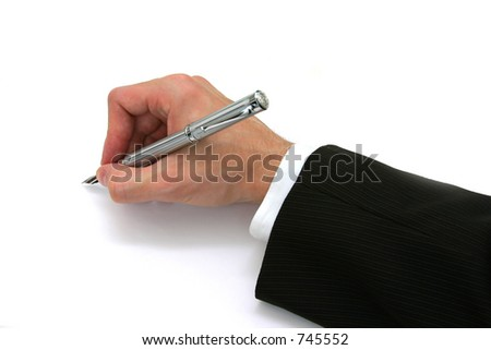 Business Man Writing with Fountain Pen