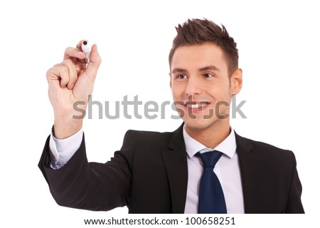 Business man writing with marker isolated on white background