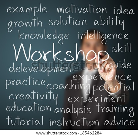 Business Man Writing Workshop Concept