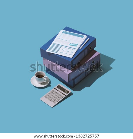 Business management, accounting and finance: financial reports, paperwork and calculator, isometric objects #1382725757