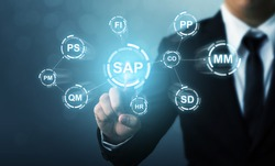 Business management software (SAP). ERP enterprise resources planning system concept