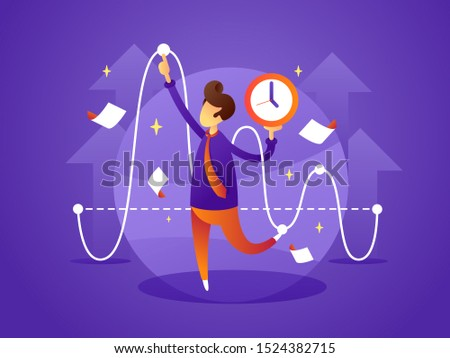 Business manager controls organize and manage time. flat illustration