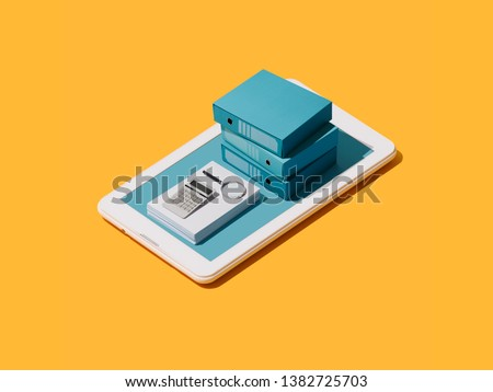 Business managment and accounting app: paperwork, calculator and folders on a touch screen smartphone display, isometric objects #1382725703