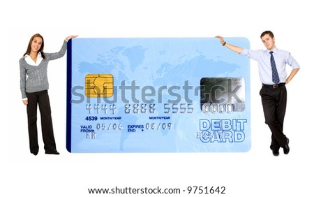 business mand and woman holding a credit card over a white background - note the design of the card is my own and the numbers on the card are made up