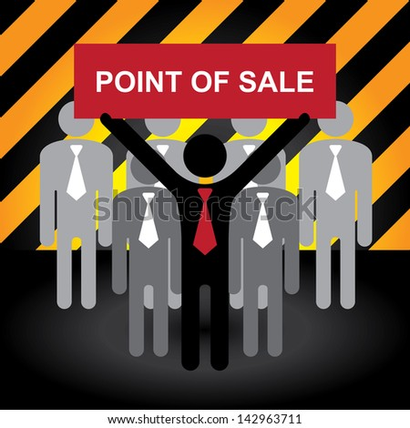 Business, Marketing or Financial Concept Present By Group of Businessman With Red Point Of Sale Sign in Caution Zone Dark and Yellow Background