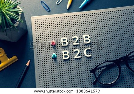 Business marketing with b2b,b2c,c2c text on desk table.management and e-commerce concepts Stockfoto ©