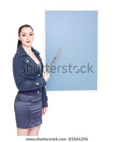 Business Marketing Woman Holding Ruler To Chalkboard When Displaying Text Copyspace In A Place Your Message On The Chalk Board Concept, On White
