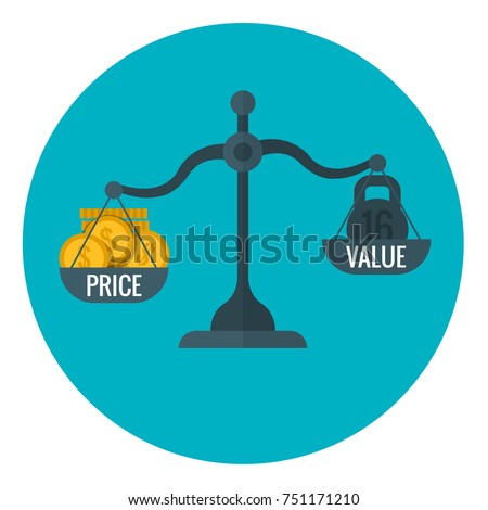 Business measurement of price and value with scale, pricing for profit concept. Compare price and value on scale, illustration of finance scale measurement