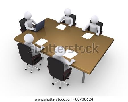 Business meeting between five 3d people