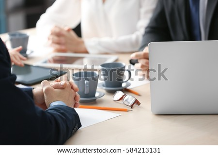 Business meeting concept. Male hands on table #584213131