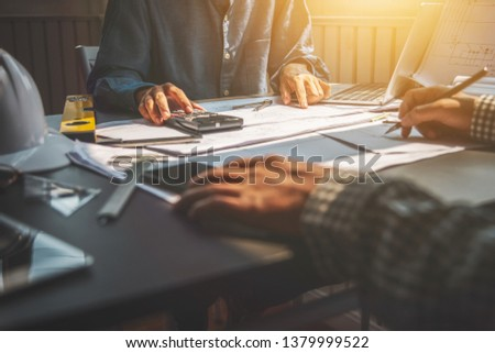 Business meeting construction engineer discussing architect plan. #1379999522