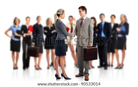Business meeting. Group of business people. Business team. Isolated over white background.