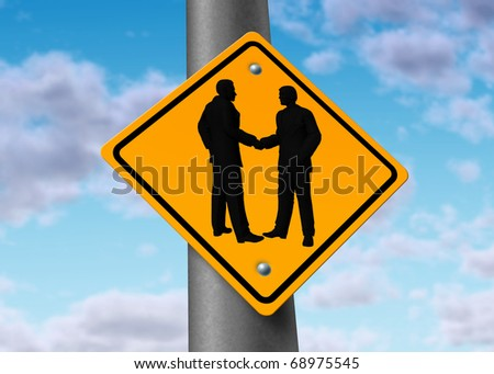 business meeting hand shake agreement deal road sign symbol icon - stock photo