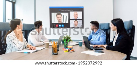 Business meeting in the conference room. Remote connection, web conference, video chat concept