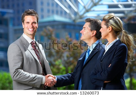 stock photo : Business meeting in the downtown.