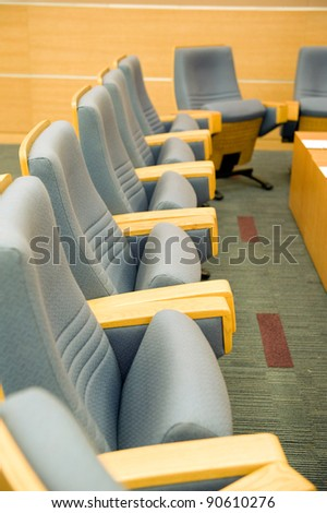 Business meeting of conference room interior.