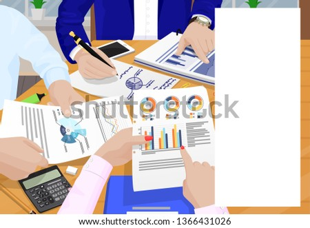 Business meeting poster and text sample hands of people human writing calculating banner organization time raster illustration management concept