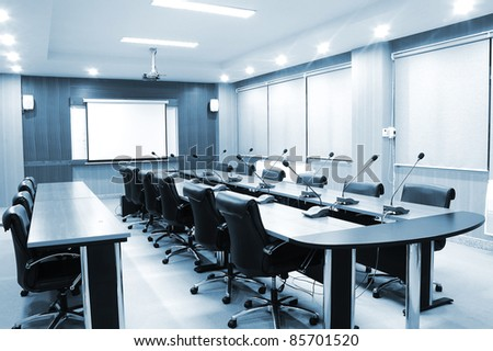 Business meeting room or board room interiors - blue tone