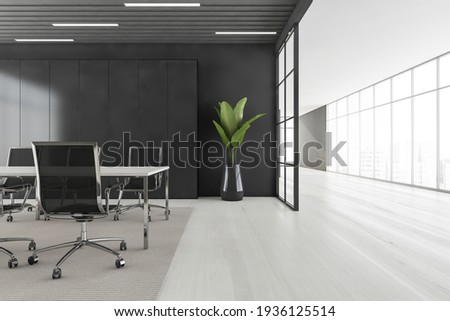 Business meeting room with black armchairs and wooden table, grey carpet on white parquet floor. Long corridor and panoramic windows with city view, 3D rendering no people