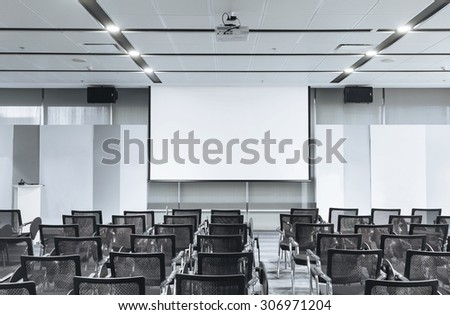 Business meeting Seminar room conference and Seats with Blank Mock up white board
