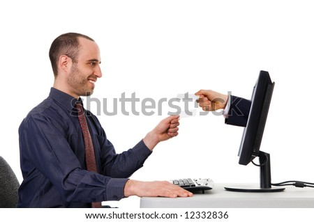 business men exchanging blank cards on the internet