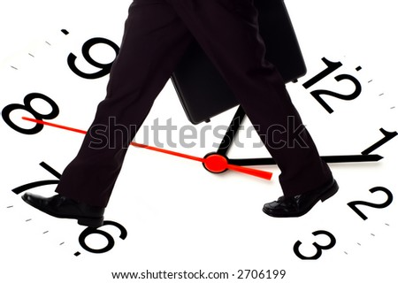 business men fast walking with case - concept