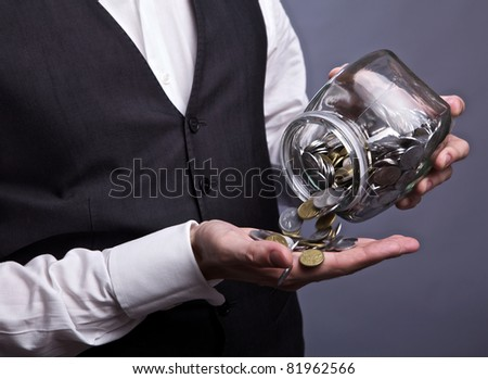 Business men hands holding finance currency coins