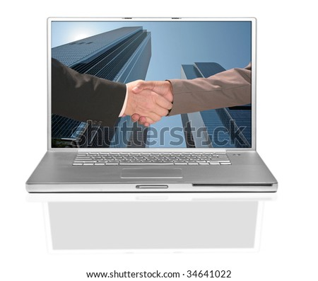 Business Men Handshake on a Computer Screen Against Building Background