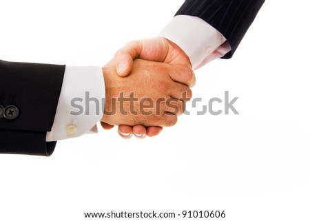 Business men handshake on white background
