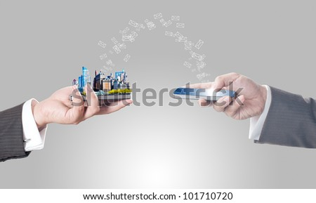 Business men holding smart phone with city on screen and sending mail