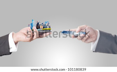 Business men holding smart phone with city on screen for business trading concept