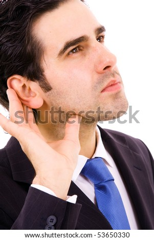 bald male in listening pose on an isolated background