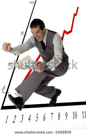 business men jumping with newspaper in hands on white- success concept