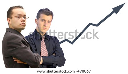business men looking confident with a graph in the background