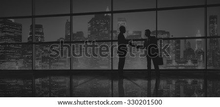 Business Men People Handshake Silhouette Concept #330201500