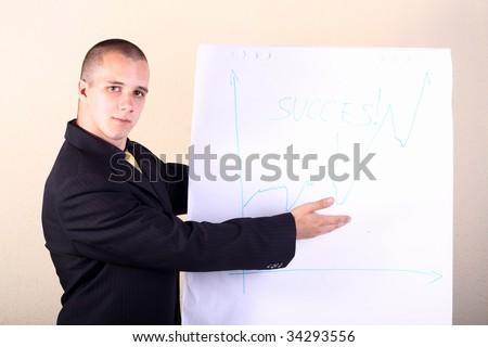 Business men point at the demonstration table