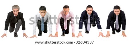 Business men ready to race isolated over white