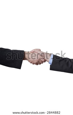 Business men shaking hands in white background