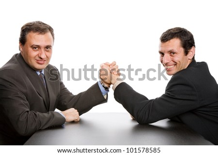 business men shaking hands, isolated on white