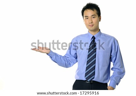 Business men show his presentation