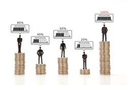 Business men standing piled coins with motivation scale in speech bubble