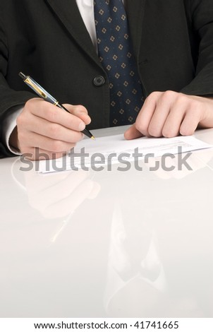 Business men writing a document