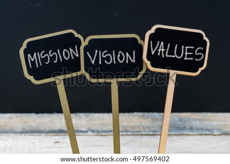 Business message MISSION, VISION, VALUES written with chalk on wooden mini blackboard labels, defocused chalkboard and wood table in background #497569402