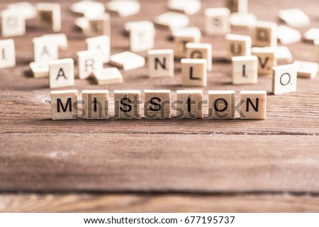 Business mission word collected of elements of wooden elements with the letters #677195737
